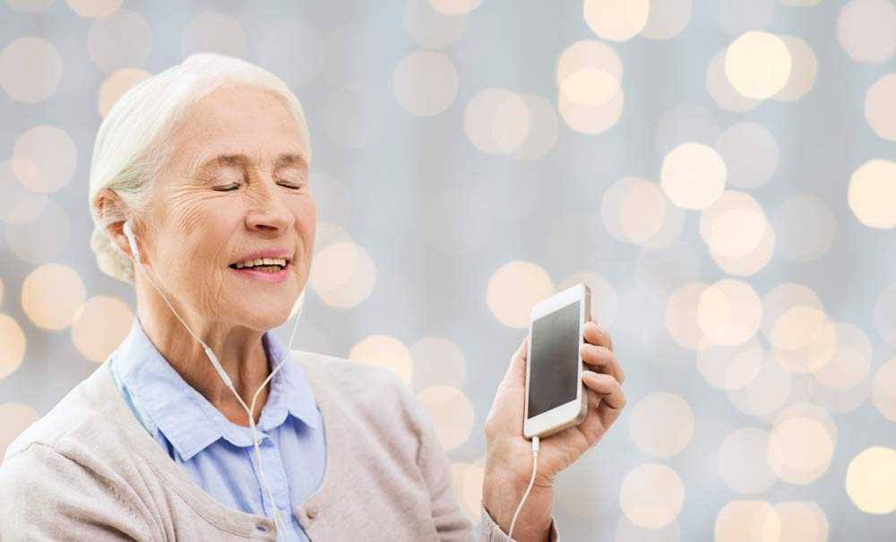 Senior listening to music